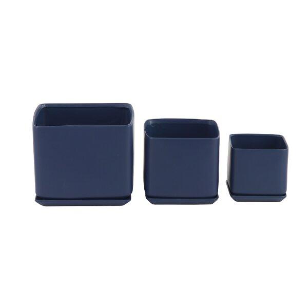 Paille Modern 3-Piece Ceramic Pot Planter Set by George Oliver