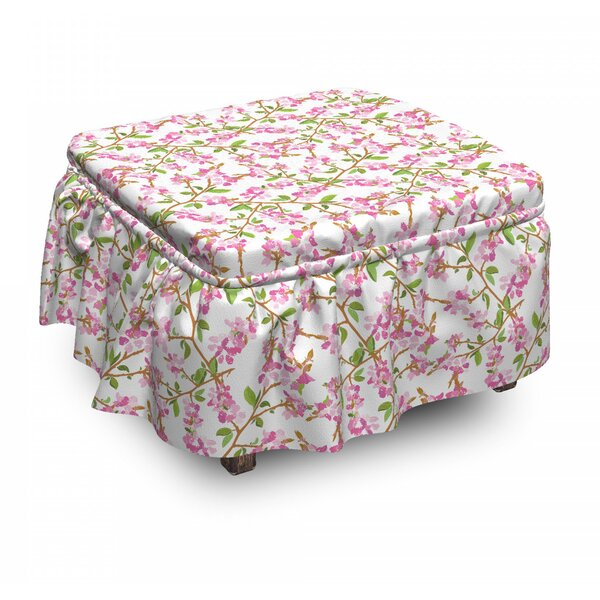 Floral Leaves Ottoman Slipcover (Set Of 2) By East Urban Home