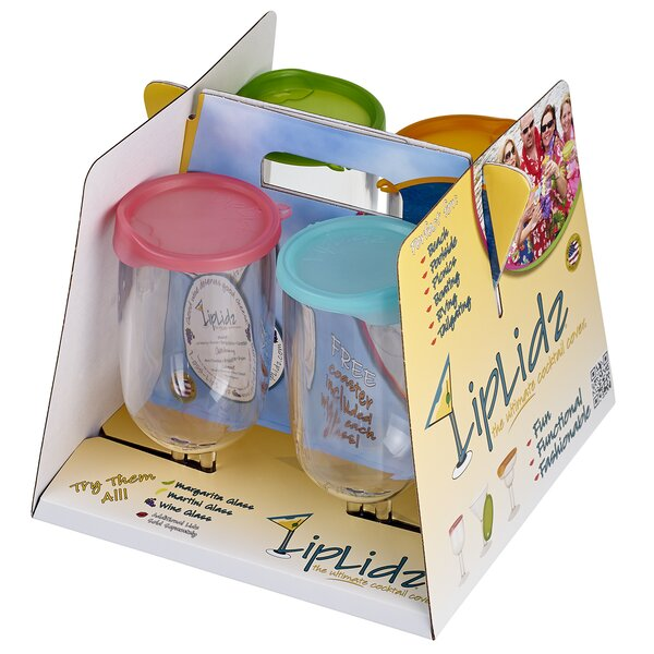 4 Piece 21 oz. Plastic Pint Glass Set by LipLidz