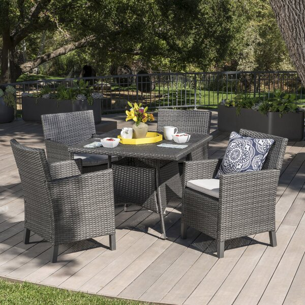 Ledezma Outdoor Wicker 5 Piece Dining Set with Cushions by Ivy Bronx