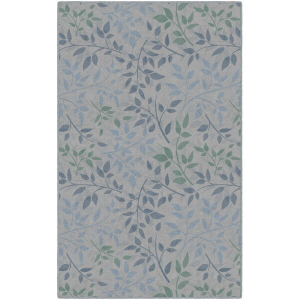 Frida Leaves Floral Blue/Green Area Rug by Charlton Home