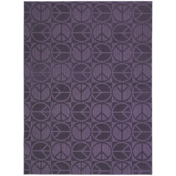 Purple Large Peace Indoor/Outdoor Area Rug by Garland Rug