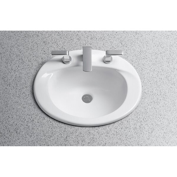 Supreme Ceramic Oval Drop-In Bathroom Sink with Ov