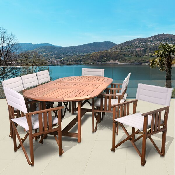 Tussey International Home Outdoor 9 Piece Dining Set by Highland Dunes