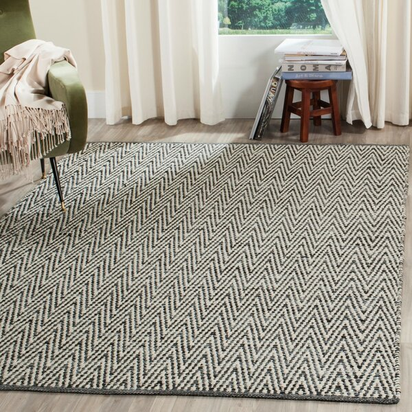 Shevchenko Place Hand-Woven Ivory / Dark Grey Area Rug by Wrought Studio