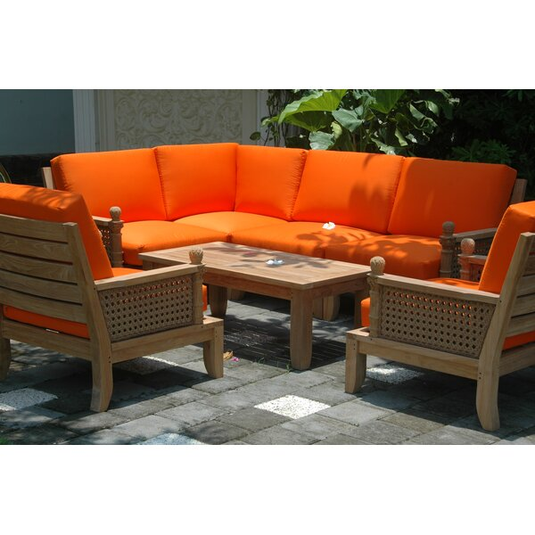 Luxe Modular 7 Piece Teak Sectional Seating Group by Anderson Teak
