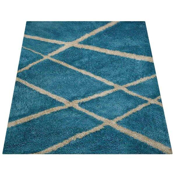 Wille Shag Geometric Hand-Tufted Blue/Beige Area Rug by Latitude Run