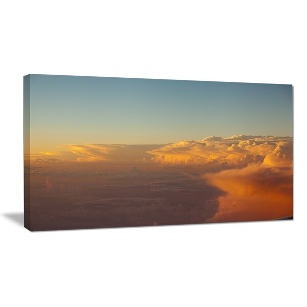 Solotful Sunset in Sky Cloudscape Photographic Print on Wrapped Canvas by Design Art