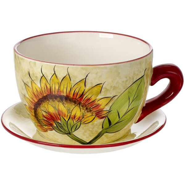 Sunflower Self-Watering Ceramic Pot Planter by 5th Ave Store