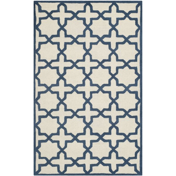 Martins Ivory / Navy Area Rug by Wrought Studio