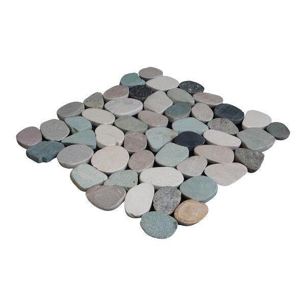 Sliced Pebble Random Sized Natural Stone Pebble Tile in Green/Tan by Pebble Tile