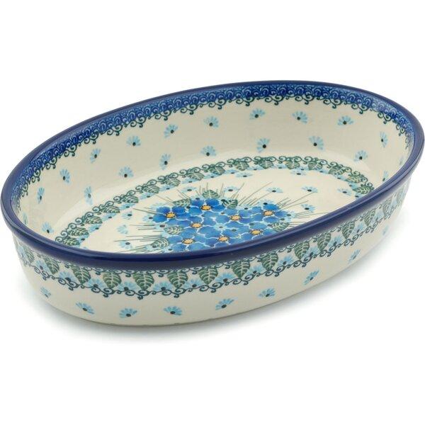 Forget Me Not Oval Polish Pottery Baker by Polmedia