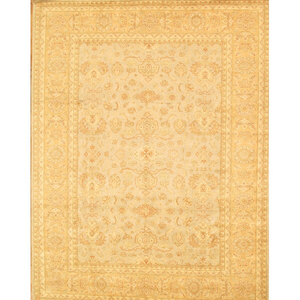 Sultanabad Hand-Knotted Light Gold/Light Blue Area Rug by Pasargad