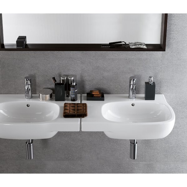Moda Ceramic 26 Wall Mount Bathroom Sink with Overflow by Bissonnet