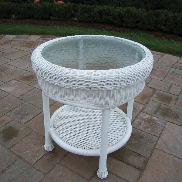 Kingsmill Glass Side Table by Rosecliff Heights