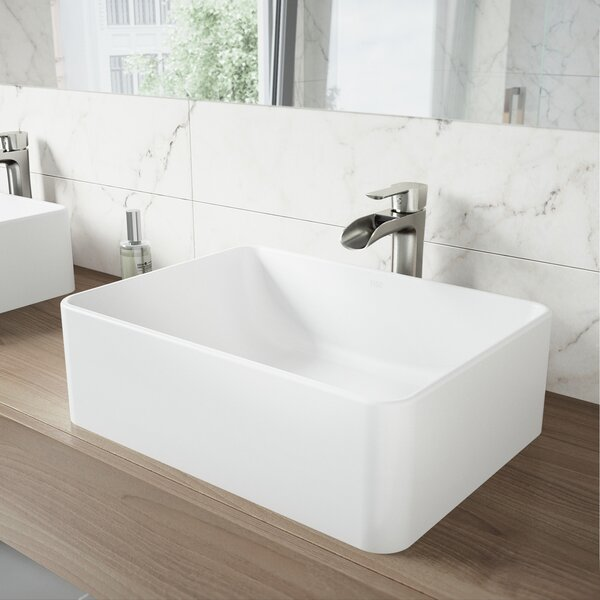 Stone Rectangular Vessel Bathroom Sink by VIGO