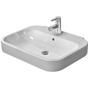 Great Price Happy D. Ceramic 24 Wall Mount Bathroom Sink with Overflow By Duravit