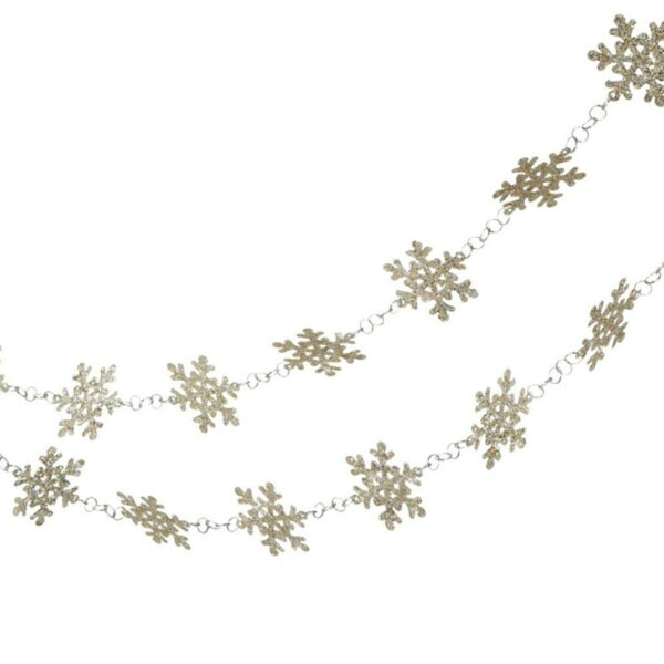 Glittered Platinum Snowflake Novelty Christmas Garland (Set of 6) by The Holiday Aisle