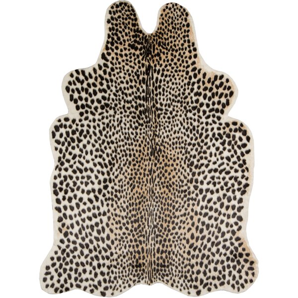 Acadia Cheetah Faux Cowhide Black Area Rug by Erin Gates by Momeni