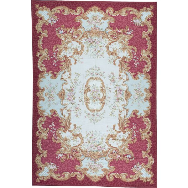 One-of-a-Kind Aubusson Renaissance Hand-Knotted Red/Beige 12'1 x 18'3 Wool Area Rug