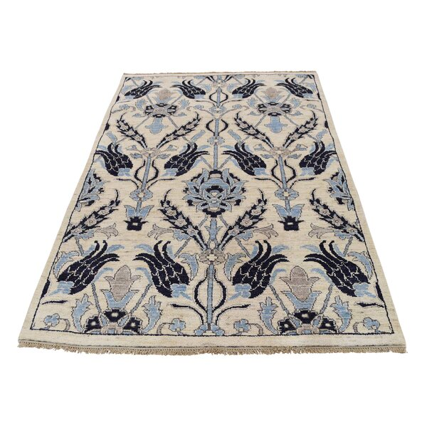 One-of-a-Kind Kells-Connor Overdyed Mazlaghan Vintage Hand-Knotted Ivory/Blue Area Rug by Canora Grey