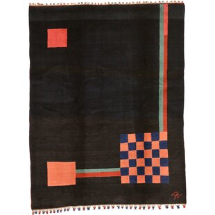 Compare One-of-a-Kind Everby Hand-Tufted 5'7 x 7'3 Wool Black Area Rug By Isabelline