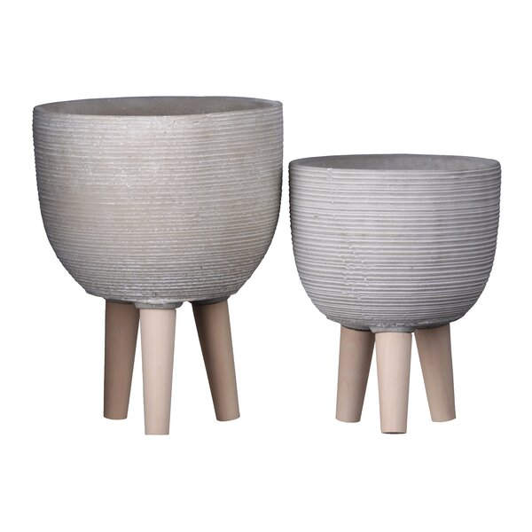 Boggess Round 2 Piece Cement Pot Planter Set by George Oliver