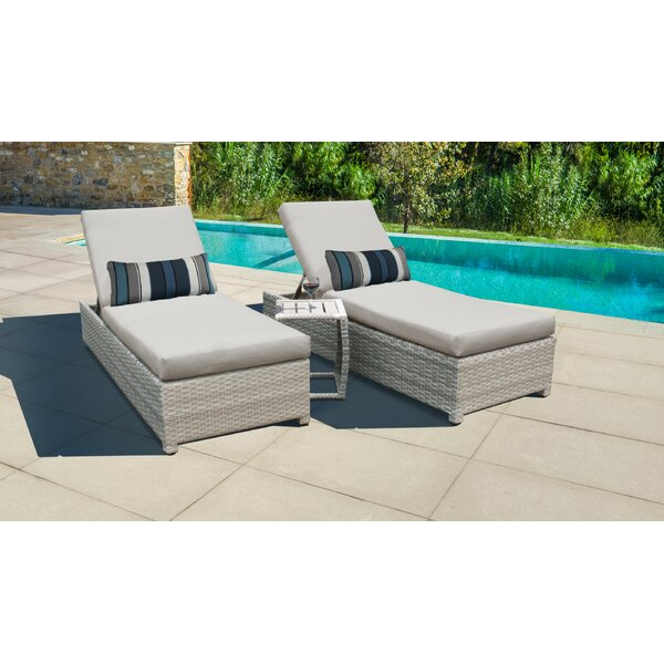 Genevieve Sun Lounger Set with Cushion and Table by Rosecliff Heights