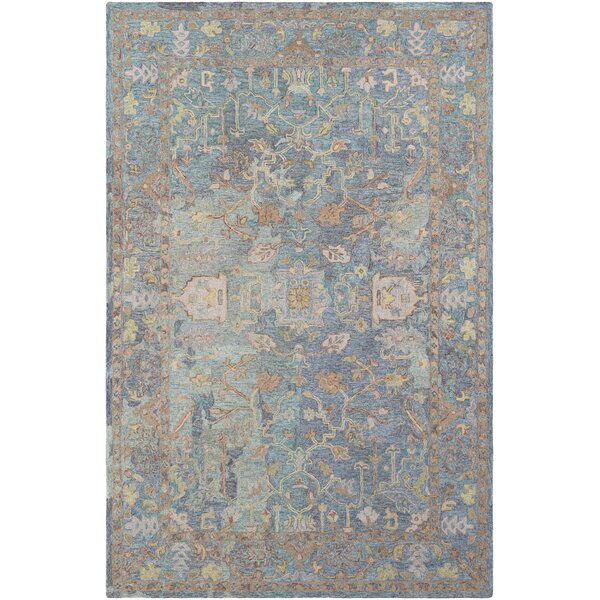 Kendall Green Vintage Floral Hand Hooked Wool Aqua/Gray Area Rug by Bungalow Rose