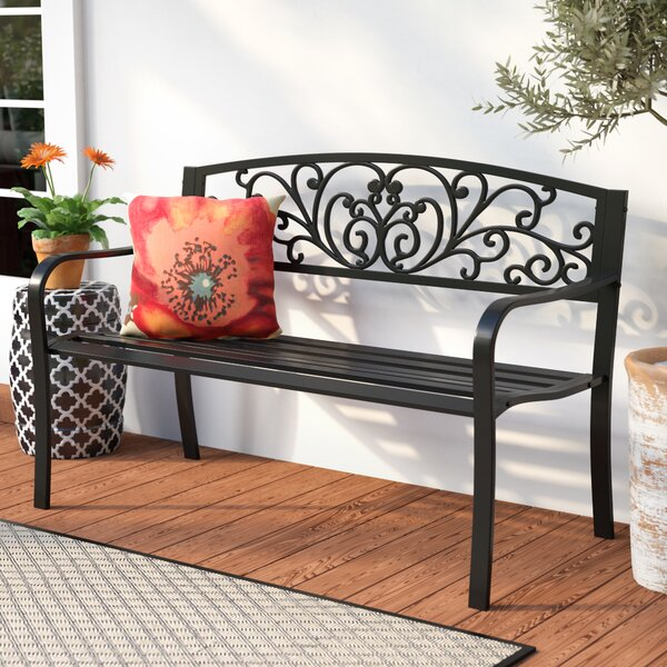 Carennac Scroll Backrest Iron Garden Bench by Fleur De Lis Living