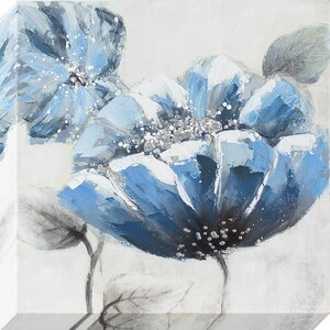 'Blue Poppy' Painting on Wrapped Canvas by Three Posts