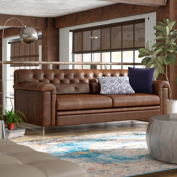 Ilario Leather Sofa by 17 Stories