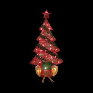 lighted tinsel decorated christmas tree with gifts yard art decoration - Outdoor Tinsel Christmas Decorations