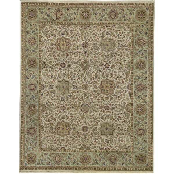 One-of-a-Kind Mughal Hand-Knotted Brown 12' x 15'4 Wool Area Rug