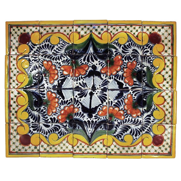 Golondrina 20 x 16 Hand Painted Talavera Mural (Set of 20) by Native Trails, Inc.