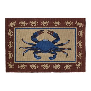 Crab Hand Woven Red Area Rug