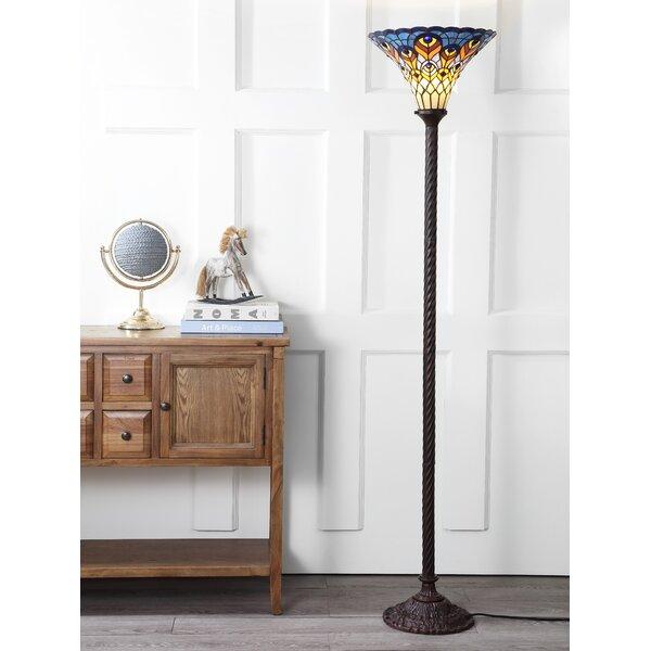 Osman Peacock Tiffany 70 Torchiere Floor Lamp by Loon Peak