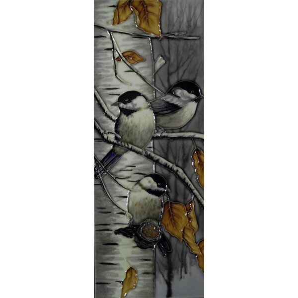 6 x 16 Ceramic Three Chickadees in the Fall Decorative Mural Tile in Gray by Continental Art Center