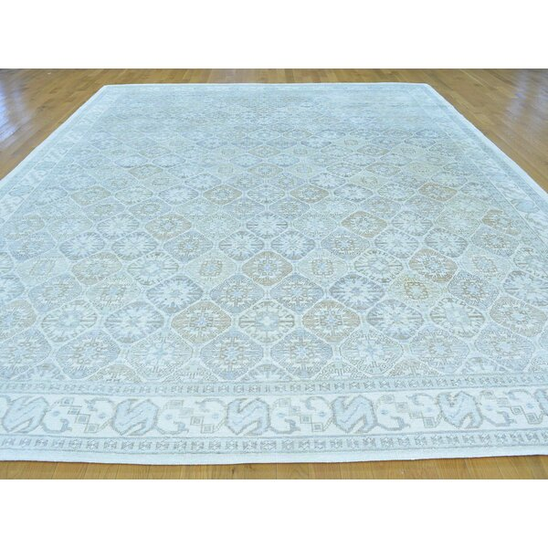 One-of-a-Kind Beauchemin Art Design Hand-Knotted Ivory Silk Area Rug by Isabelline