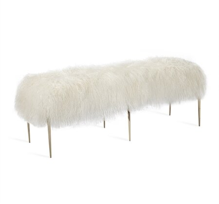 Stiletto Sheepskin Upholstered Bench by Interlude