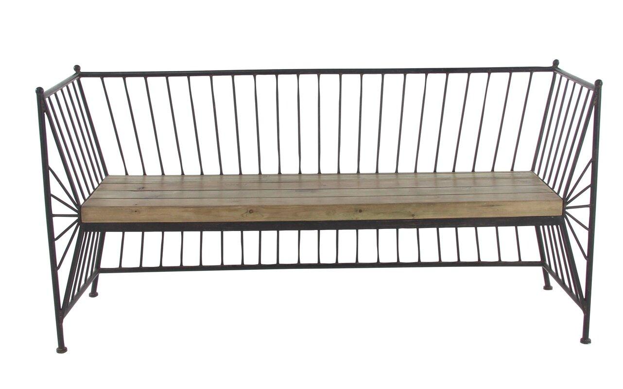 Qian Modern Metal Garden Bench With Wooden Slab Seat