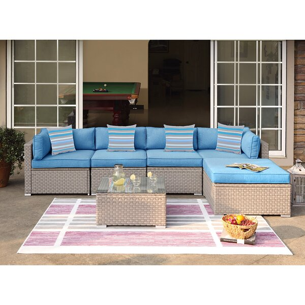 Mingus Outdoor Furniture 6 Piece Rattan Sectional Seating Group with Cushions by Rosecliff Heights