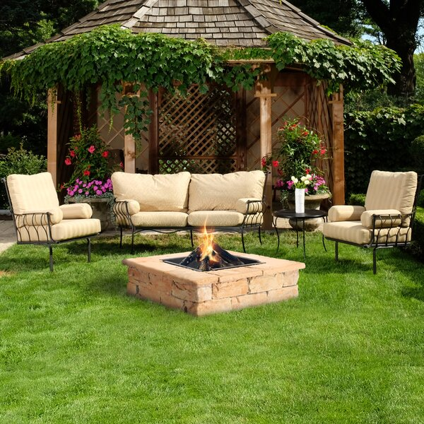 natural concrete products co fossil stone concrete wood burning fire pit table wayfair. Black Bedroom Furniture Sets. Home Design Ideas