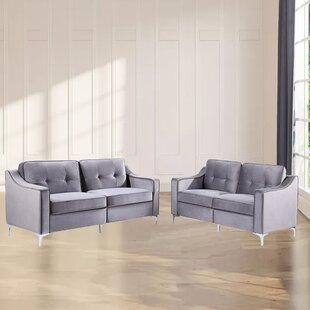Dilly 2 Piece Velvet Living Room Set by Everly Quinn