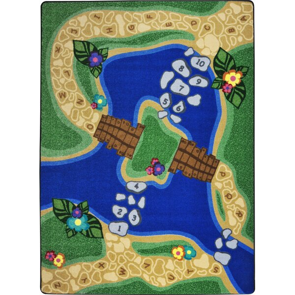 Hand-Tufled Green/Blue Kids Rug by The Conestoga Trading Co.