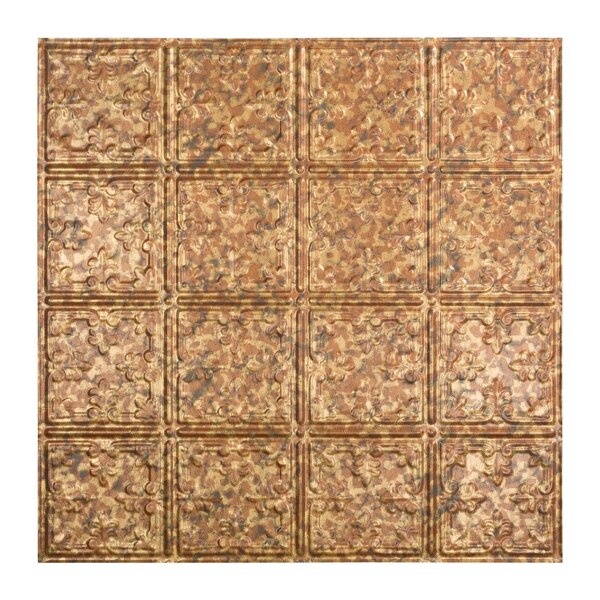 Traditional 10 2 ft. x 2 ft. Lay-In Ceiling Tile in Cracked Copper by Fasade