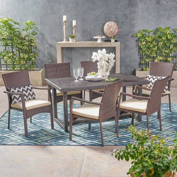 Gilmartin Outdoor 7 Piece Dining Set with Cushions by Highland Dunes