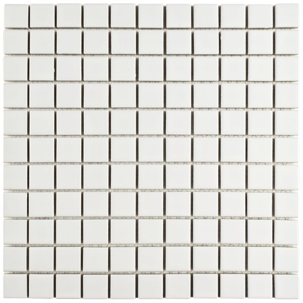 Retro Square 1 x 1 Porcelain Mosaic Tile in Matte White by EliteTile