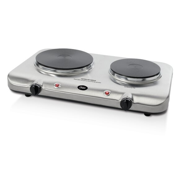 Variable Heat Control Double Burner in Stainless Steel by Oster