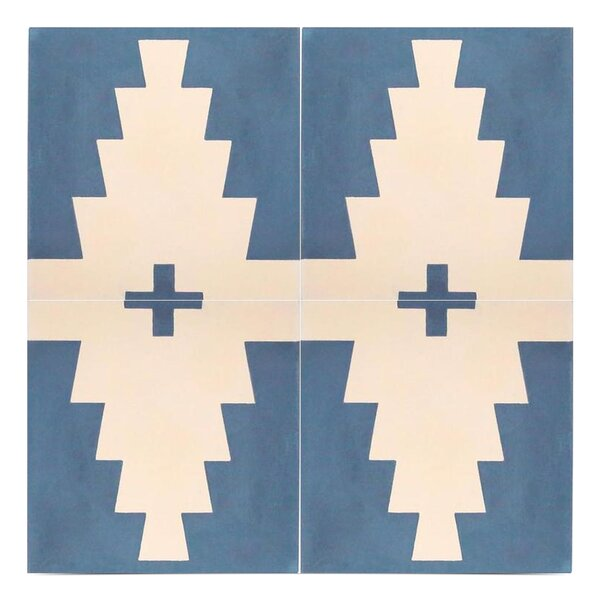 Midar Handmade 8 x 8 Cement Field Tile in Navy Blue/Off-White by Moroccan Mosaic